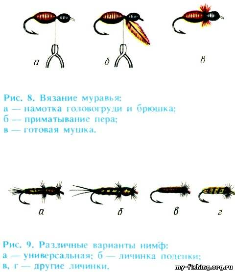 вязание муравья, варианты нимф
