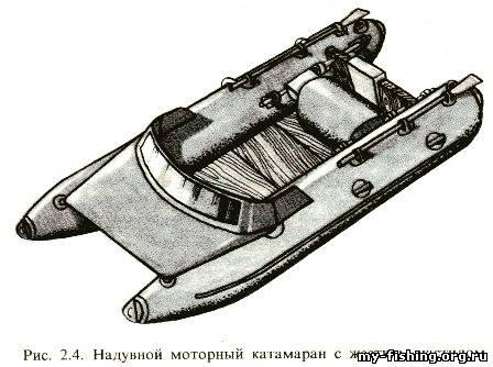 надувной моторный катамаран с жестким настилом