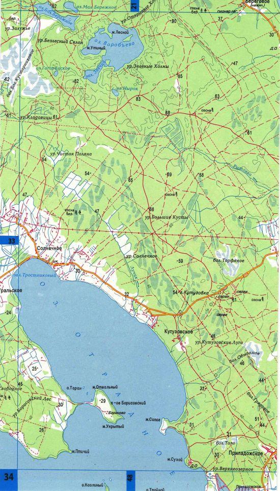 карта ленобласти подробная для рыбака